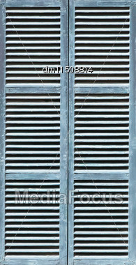 Window With Lightsteelblue Shutters. Close-up View Stock Photo