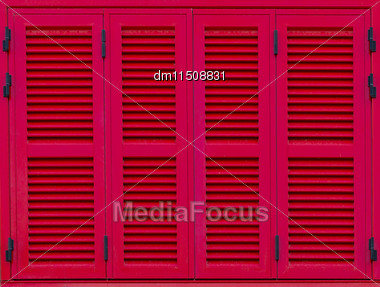 Window With Red Shutters. Close-up View Stock Photo