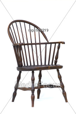 Incroyable Windsor Chair Isolated Antique Wooden Vintage Stock Photo
