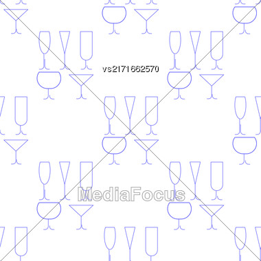 Wine Glasses Seamless Pattern. Set Of Different Wine Glasses Isolated On White Background Stock Photo