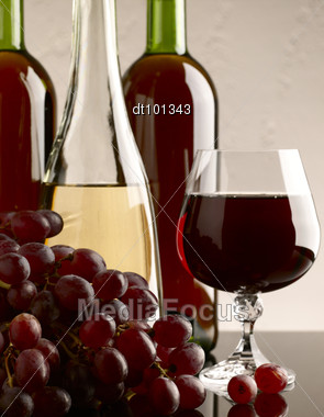 Winery Still Life On The Glass With Red And White Wine Stock Photo
