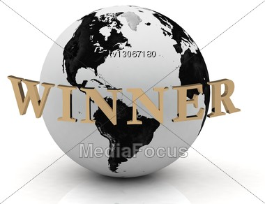 WINNER Abstraction Inscription Around Earth Stock Photo