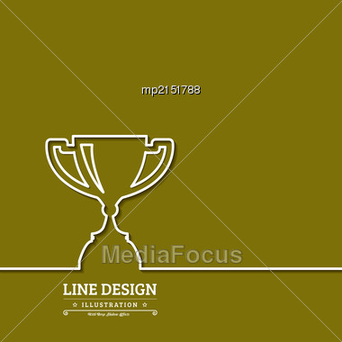 Winner Award Cup. Thin Line Web Icons With Outline . Vector Illustration Stock Photo