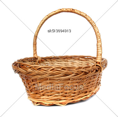 Wintage Willow Basket For Fruits Stock Photo