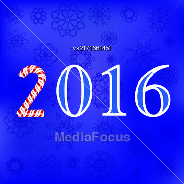 Winter Card. Christmas Blue Snowflakes Background. Numerical Pattern Stock Photo