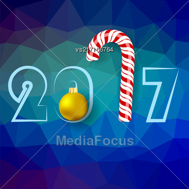 Winter Christmas Blue Polygonal Background With Candy Cane And Yellow Glass Ball Stock Photo