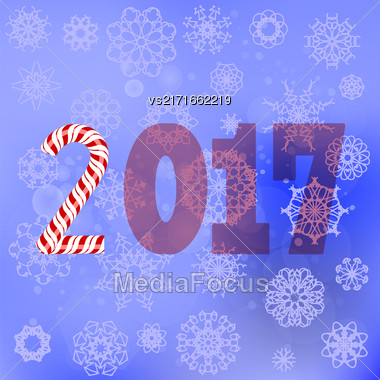 Winter Christmas Blue Snow Flake Background With Candy Cane Stock Photo