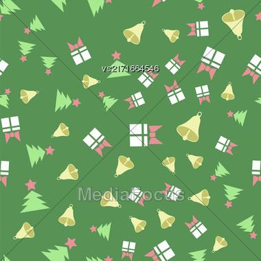 Winter Christmas Seamless Pattern On Green Background Stock Photo