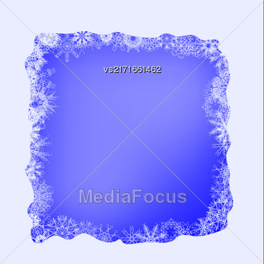 Winter Frame. Set Of Different Winter Snowflakes On Blue Background Stock Photo