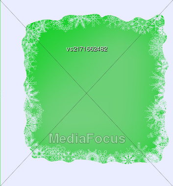 Winter Frame. Set Of Different Winter Snowflakes On Green Background Stock Photo