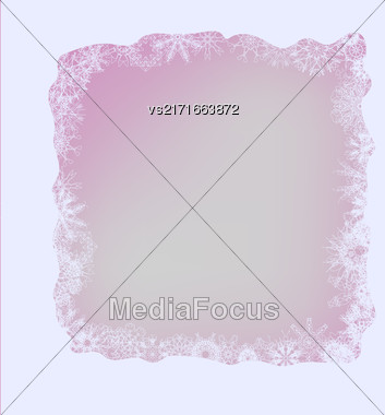 Winter Frame. Set Of Different Winter Snowflakes On Pink Background Stock Photo