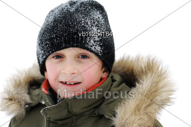 Winter Games Children - Portrait Of A Boy In Winter Clothes Stock Photo