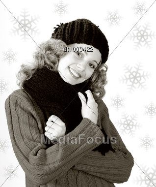 Winter Girl. Young Pretty Woman Portrait With Snowflakes Stock Photo