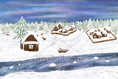 Winter Illustration. Digital Art. Villages In The Forest, Deer, River, House And Old Boat Stock Photo