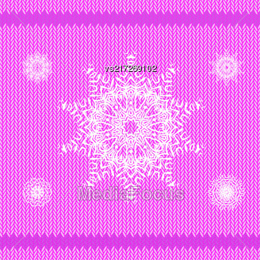 Winter Knitted Pink Pattern. Textile Fabric Background Stock Photo