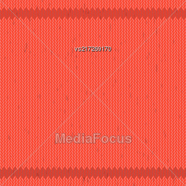 Winter Knitted Red Pattern. Textile Fabric Background Stock Photo