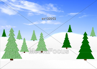 Winter Landscape With Green Fir-trees Under The Dark Blue Sky Stock Photo