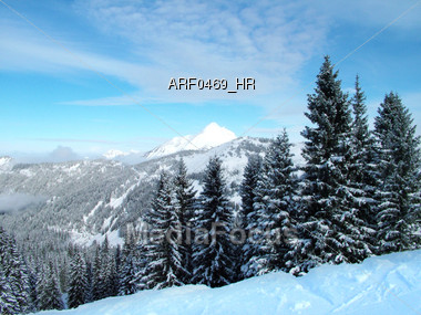 Winter Landscape Of Snow Covered Mountains Stock Photo