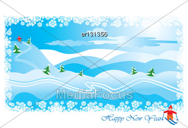 Winter Landscape With Skier: Snow Hills And Pines - Happy New Year Postcard Stock Photo