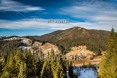 Winter Landscape With Snow In Mountains Carpathians, Ukraine Stock Photo