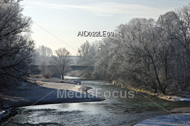 Winter Landscape with Trees and River Stock Photo