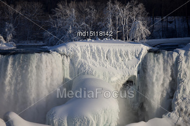 Winter Niagara Falls Frozen Snow And Ice Stock Photo