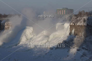 Winter Niagara Falls Frozen Snow And Ice Stock Photo