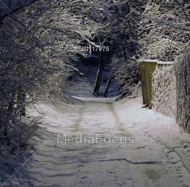 stock photo winter night snow covered road image sl1117975 winter