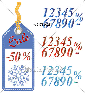 Winter Sale Sticker With Rope Isolated On White Pattern. Set Of Colored Grunge Numbers. Promo Offer. Design Of Discount Tag. Special Christmas Label Stock Photo