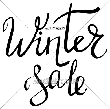 Winter Sale Typographic Poster. Hand Drawn Phrase. Ink Lettering On White Background Stock Photo
