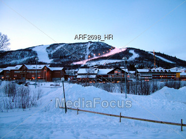 Winter Ski Resort Stock Photo