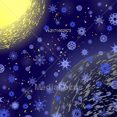 Winter Snowflake Blue Pattern. Christmas Background. Sun And Earth Stock Photo