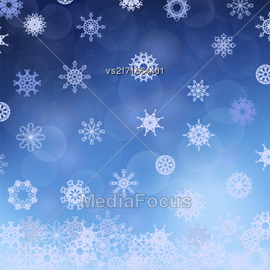 Winter Snowflake Blue Pattern. Christmas Blurred Background Stock Photo
