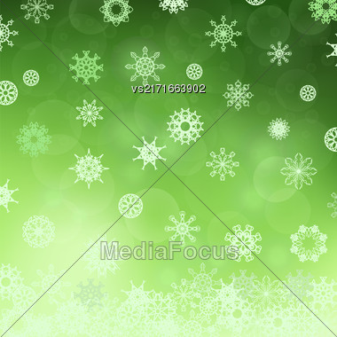 Winter Snowflake Green Pattern. Christmas Snow Background Stock Photo