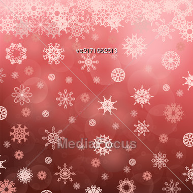 Winter Snowflake Red Pattern. Christmas Blurred Background Stock Photo
