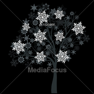 Winter Tree With Snowflakes On Black Background. EPS 10 Vector Illustration Without Transparency Stock Photo