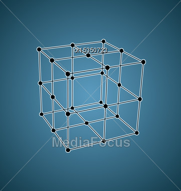 Wireframe Mesh Polygonal Element Cube With Connected Offset Lines And Dots - Vector Stock Photo