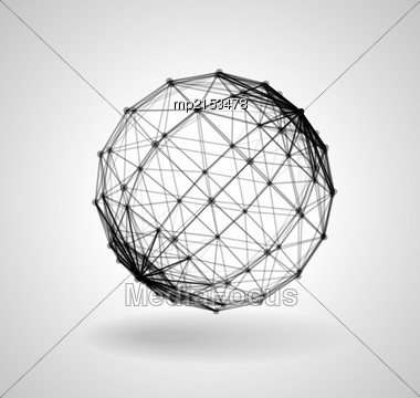 Wireframe Polygonal Element. 3D Sphere With Lines And Dots. Vector Illustration Stock Photo