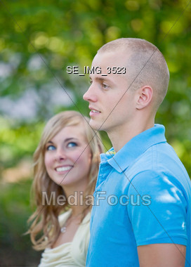 Woman Admiring Her Man Stock Photo