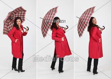 Woman And An Umbrella Stock Photo