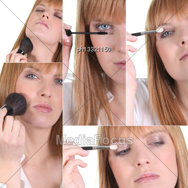 Woman Applying Makeup Stock Photo