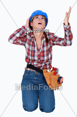 Woman Begging For Mercy Stock Photo