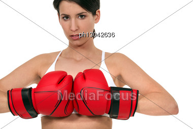 Woman Boxing. Stock Photo
