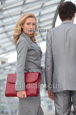 Woman Carrying Briefcase Stock Photo