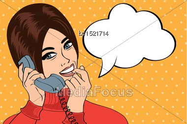 Woman Chatting On The Phone, Pop Art Illustration, Vector Illustration Stock Photo