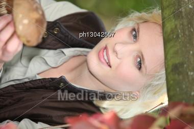 Woman Collecting Mushrooms Stock Photo