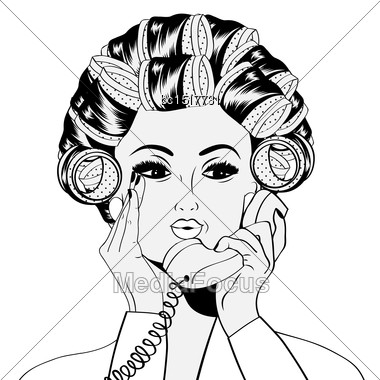 Woman With Curlers In Their Hair Talking At Phone, Isolated On White, Vector Format Stock Photo