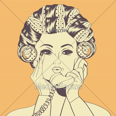 Woman With Curlers In Their Hair Talking At Phone, Vector Format Stock Photo