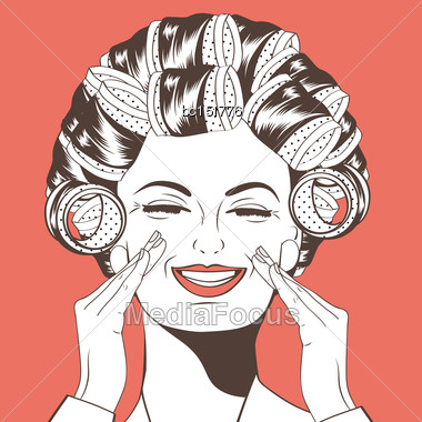 Woman With Curlers In Their Hair, Vector Format Stock Photo