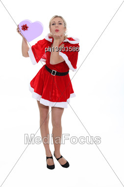 Woman Disguised For Valentine's Day Stock Photo